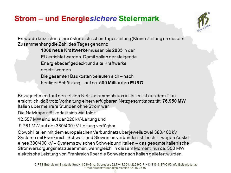 © PTS Energie mit Strategie GmbH, 8010 Graz, Sporgasse 22;T:+43.664.4222460, F: +43.316.818705.50, info@pts-ploder.at Urheberrecht vorbehalten, Version AK-16-05-07 6 Strom – und Energiesichere Steiermark Es wurde kürzlich in einer österreichischen Tageszeitung (Kleine Zeitung) in diesem Zusammenhang die Zahl des Tages genannt: 1000 neue Kraftwerke müssen bis 2035 in der EU errichtet werden, Damit sollen der steigende Energiebedarf gedeckt und alte Kraftwerke ersetzt werden.