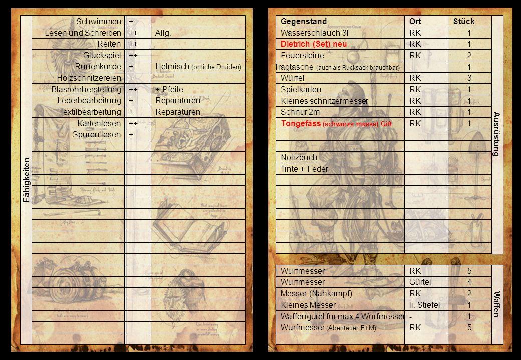 Fähigkeiten Runenkunde Holzschnitzereien Blasrohrherstellung Lederbearbeitung Textilbearbeitung Kartenlesen Spuren lesen Schwimmen Lesen und Schreiben Reiten Glückspiel + + ++ + + + + Helmisch (örtliche Druiden) + Pfeile Reparaturen Allg.