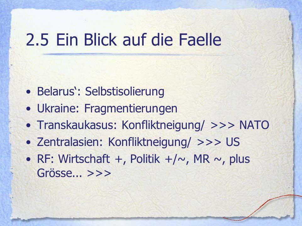 2.5Ein Blick auf die Faelle Belarus: Selbstisolierung Ukraine: Fragmentierungen Transkaukasus: Konfliktneigung/ >>> NATO Zentralasien: Konfliktneigung