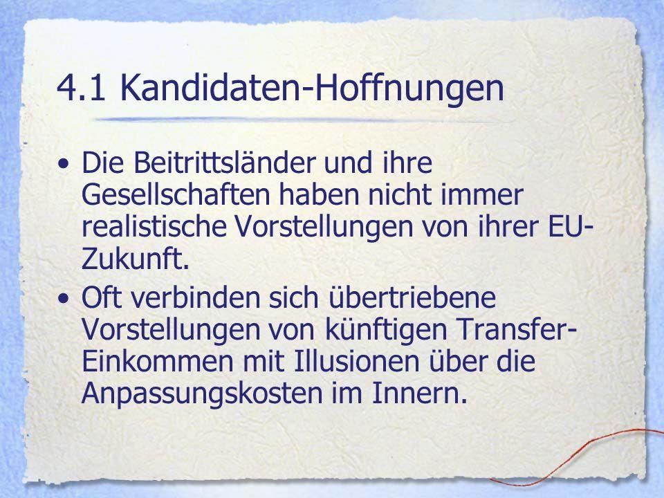 4.1 Kandidaten-Hoffnungen Die Beitrittsländer und ihre Gesellschaften haben nicht immer realistische Vorstellungen von ihrer EU- Zukunft. Oft verbinde