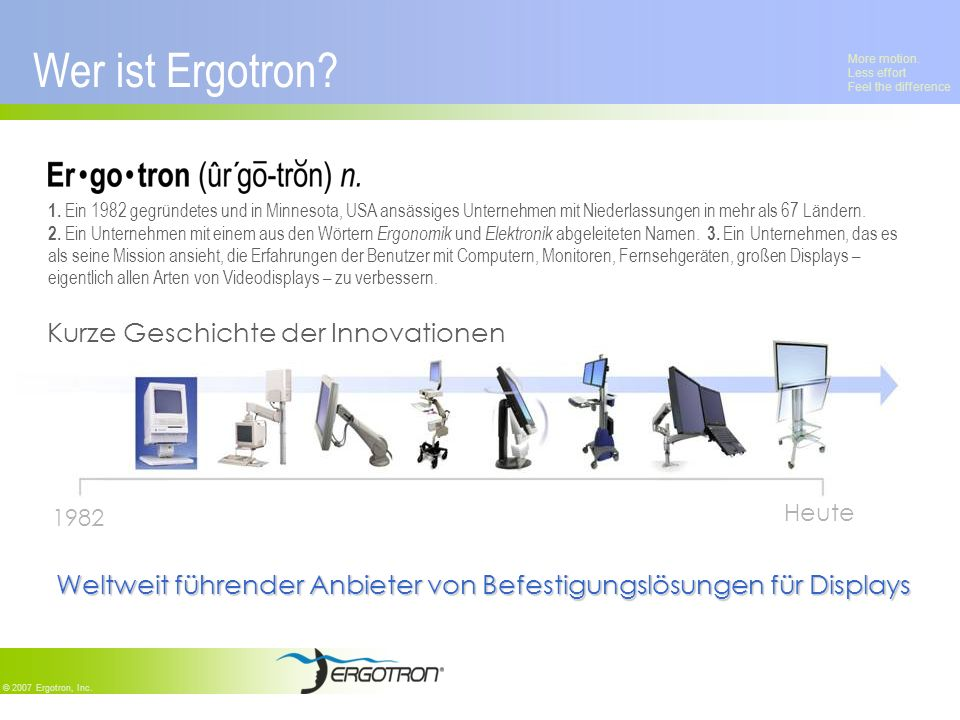 More motion. Less effort Feel the difference © 2007 Ergotron, Inc. Wer ist Ergotron? 1. Ein 1982 gegründetes und in Minnesota, USA ansässiges Unterneh