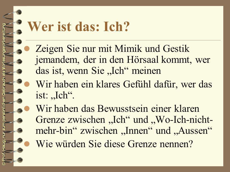 © Prof. Haug; nur zum persönlichen Gebrauch als Vorlesungsvorbereitung Wer ist das: Ich? l Zeigen Sie nur mit Mimik und Gestik jemandem, der in den Hö