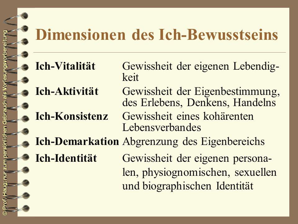 © Prof. Haug; nur zum persönlichen Gebrauch als Vorlesungsvorbereitung Dimensionen des Ich-Bewusstseins Ich-VitalitätGewissheit der eigenen Lebendig-