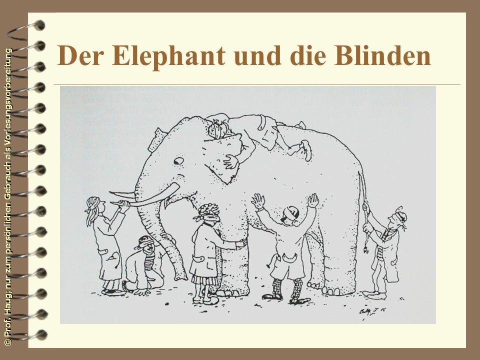 © Prof. Haug; nur zum persönlichen Gebrauch als Vorlesungsvorbereitung Der Elephant und die Blinden