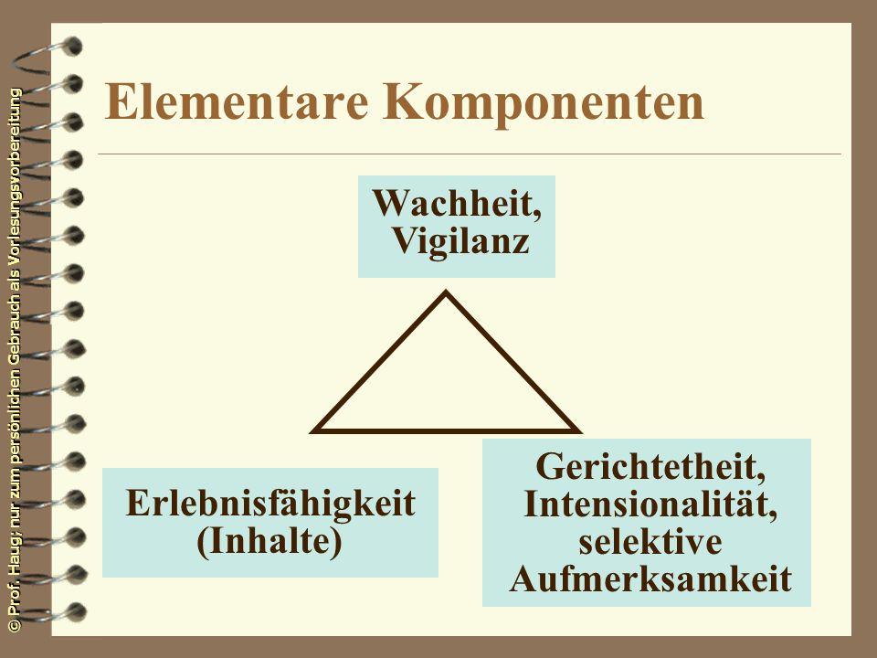 © Prof. Haug; nur zum persönlichen Gebrauch als Vorlesungsvorbereitung Elementare Komponenten Wachheit, Vigilanz Gerichtetheit, Intensionalität, selek