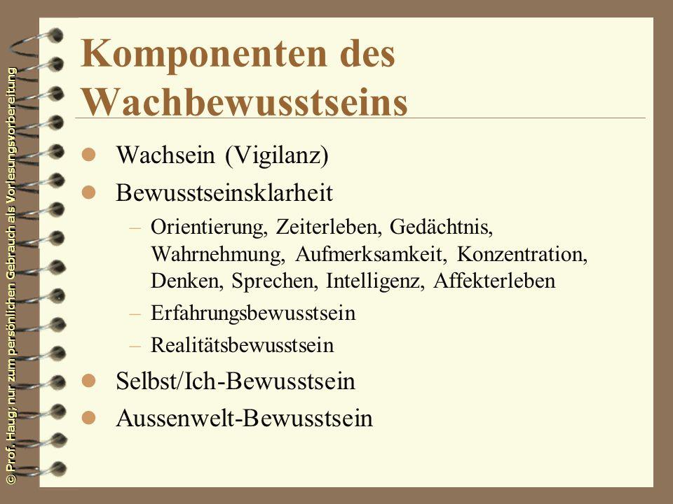 © Prof. Haug; nur zum persönlichen Gebrauch als Vorlesungsvorbereitung Komponenten des Wachbewusstseins l Wachsein (Vigilanz) l Bewusstseinsklarheit –