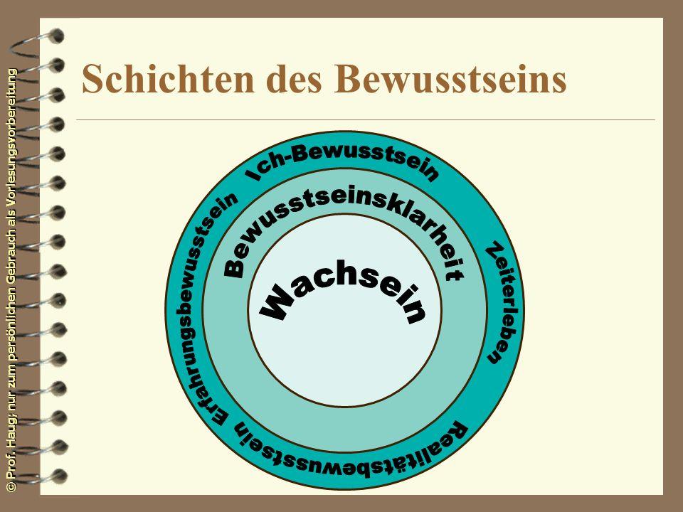 © Prof. Haug; nur zum persönlichen Gebrauch als Vorlesungsvorbereitung Schichten des Bewusstseins