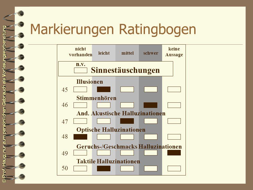 © Prof. Haug; nur zum persönlichen Gebrauch als Vorlesungsvorbereitung Markierungen Ratingbogen n.v. Sinnestäuschungen Illusionen Stimmenhören And. Ak
