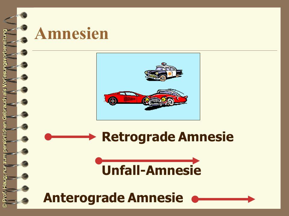 © Prof. Haug; nur zum persönlichen Gebrauch als Vorlesungsvorbereitung Amnesien Retrograde Amnesie Unfall-Amnesie Anterograde Amnesie