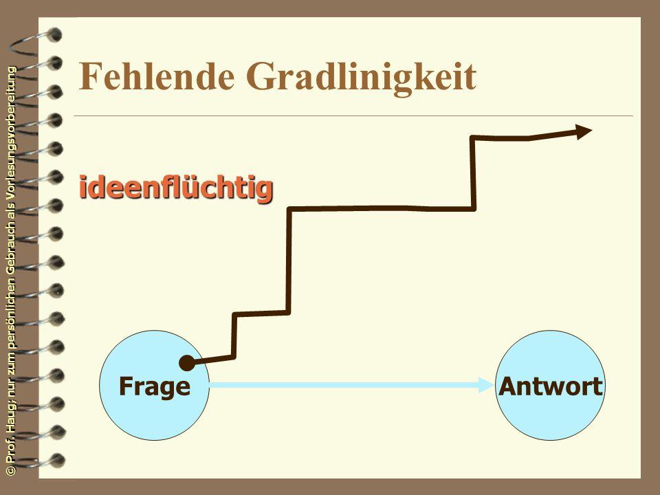 © Prof. Haug; nur zum persönlichen Gebrauch als Vorlesungsvorbereitung Fehlende Gradlinigkeit FrageAntwort ideenflüchtig