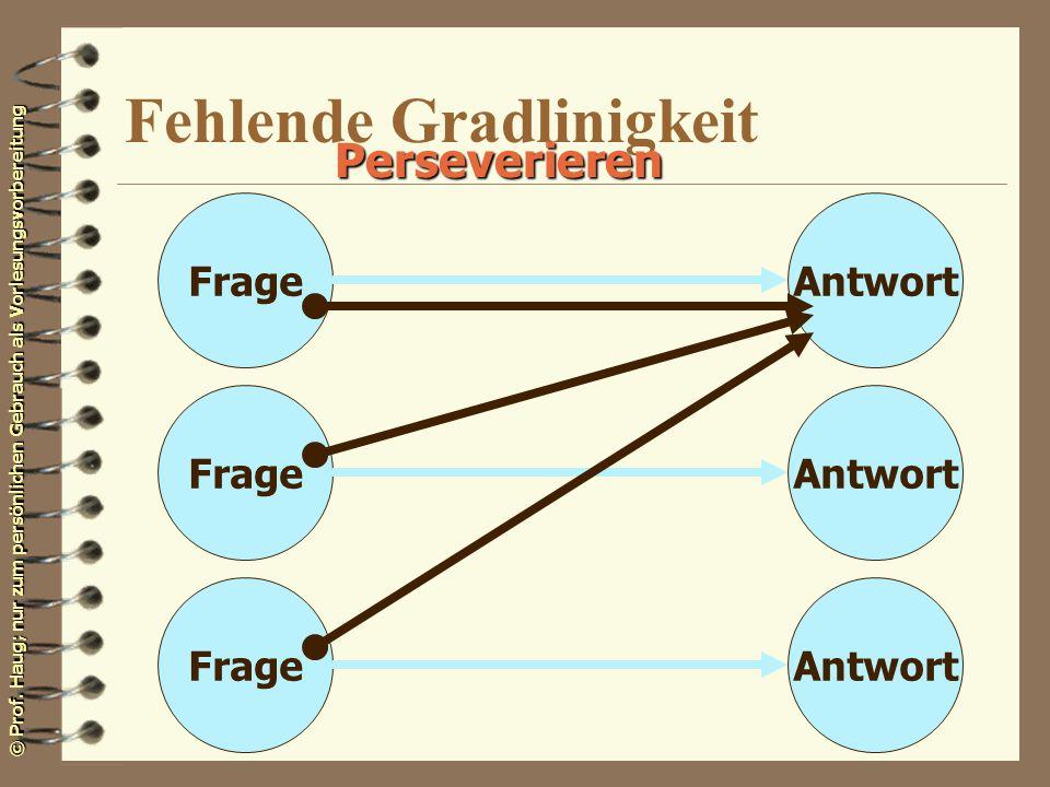 © Prof. Haug; nur zum persönlichen Gebrauch als Vorlesungsvorbereitung Fehlende Gradlinigkeit FrageAntwort Perseverieren FrageAntwortFrageAntwort