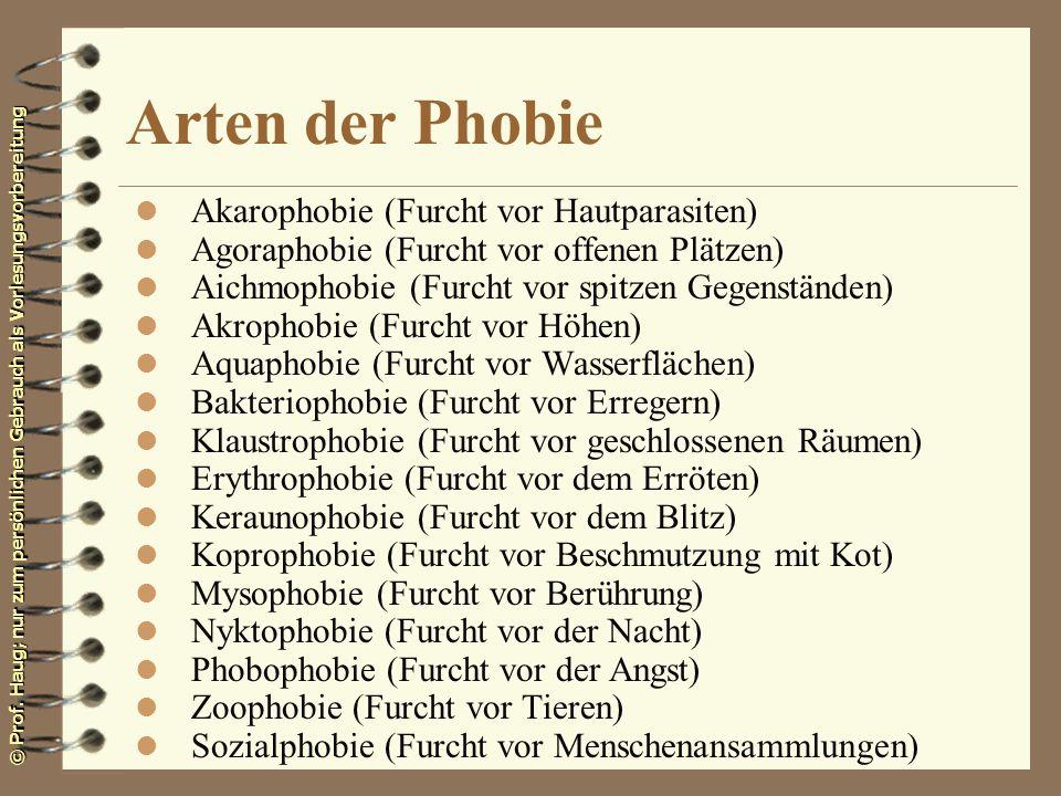 © Prof. Haug; nur zum persönlichen Gebrauch als Vorlesungsvorbereitung Arten der Phobie l Akarophobie (Furcht vor Hautparasiten) l Agoraphobie (Furcht