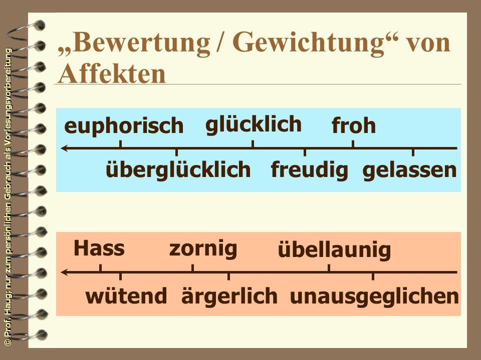 © Prof. Haug; nur zum persönlichen Gebrauch als Vorlesungsvorbereitung Bewertung / Gewichtung von Affekten euphorisch überglücklichfreudig glücklich f