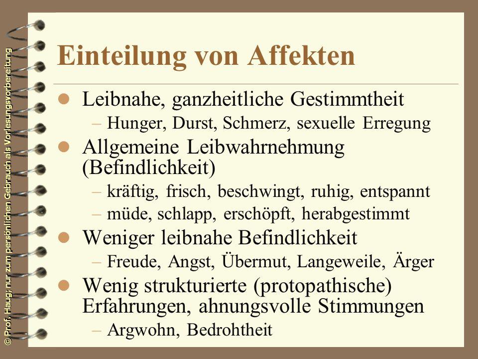 © Prof. Haug; nur zum persönlichen Gebrauch als Vorlesungsvorbereitung Einteilung von Affekten l Leibnahe, ganzheitliche Gestimmtheit –Hunger, Durst,