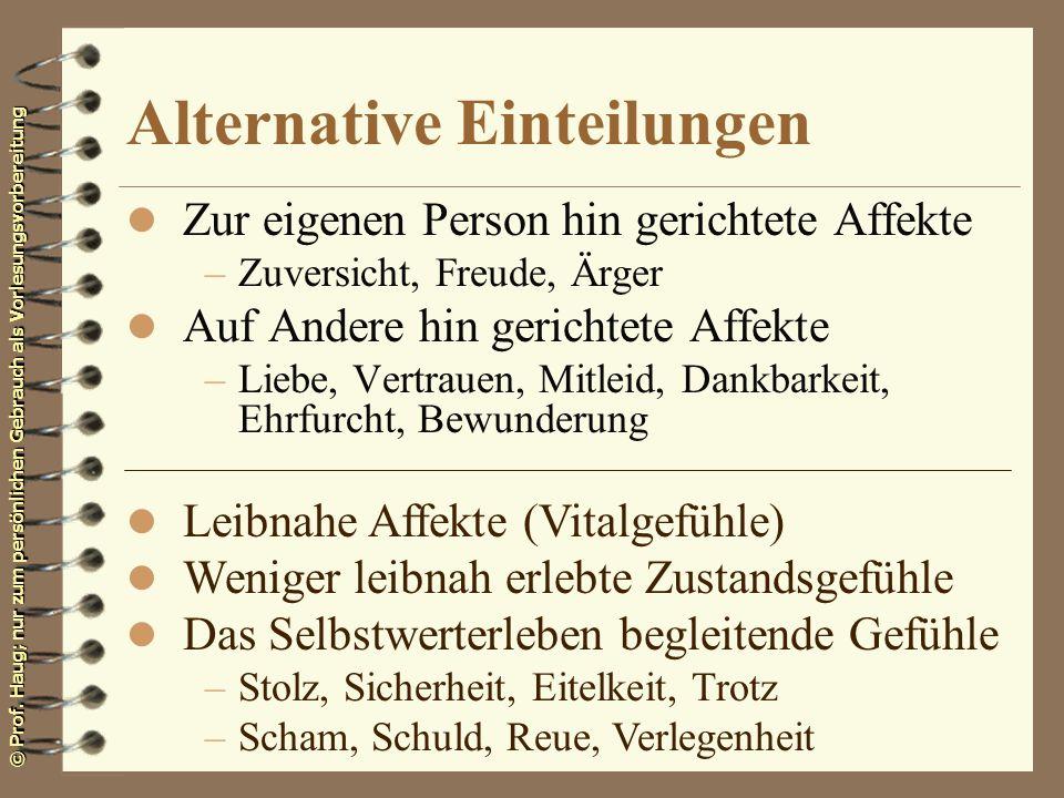 © Prof. Haug; nur zum persönlichen Gebrauch als Vorlesungsvorbereitung Alternative Einteilungen l Zur eigenen Person hin gerichtete Affekte –Zuversich