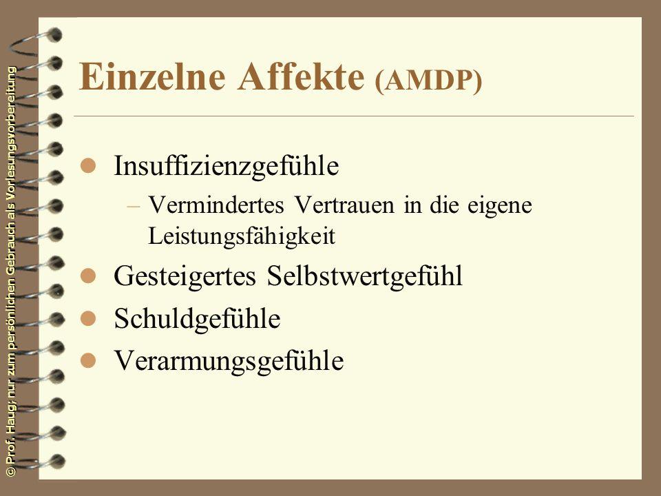 © Prof. Haug; nur zum persönlichen Gebrauch als Vorlesungsvorbereitung Einzelne Affekte (AMDP) l Insuffizienzgefühle –Vermindertes Vertrauen in die ei