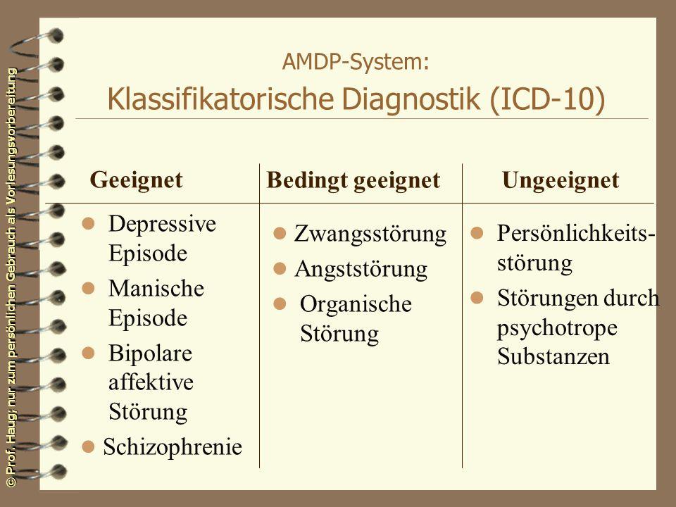© Prof. Haug; nur zum persönlichen Gebrauch als Vorlesungsvorbereitung AMDP-System: Klassifikatorische Diagnostik (ICD-10) l Depressive Episode l Mani