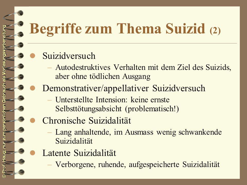 © Prof. Haug; nur zum persönlichen Gebrauch als Vorlesungsvorbereitung Begriffe zum Thema Suizid (2) l Suizidversuch –Autodestruktives Verhalten mit d