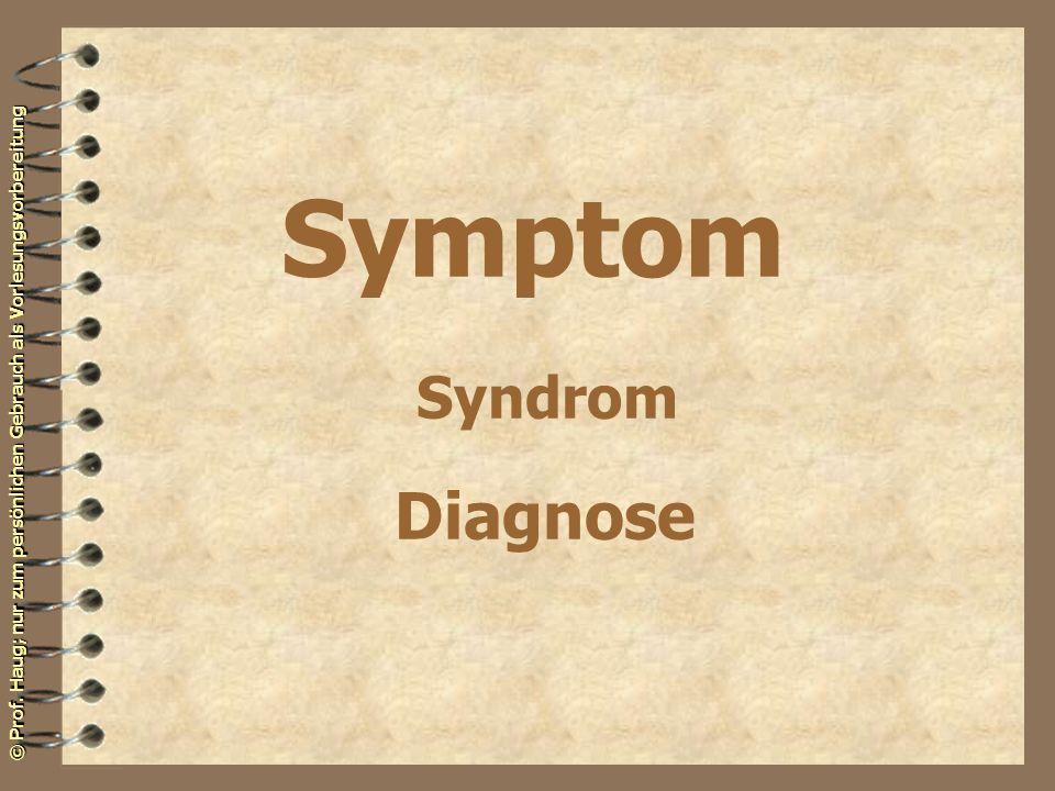 © Prof. Haug; nur zum persönlichen Gebrauch als Vorlesungsvorbereitung Symptom Syndrom Diagnose