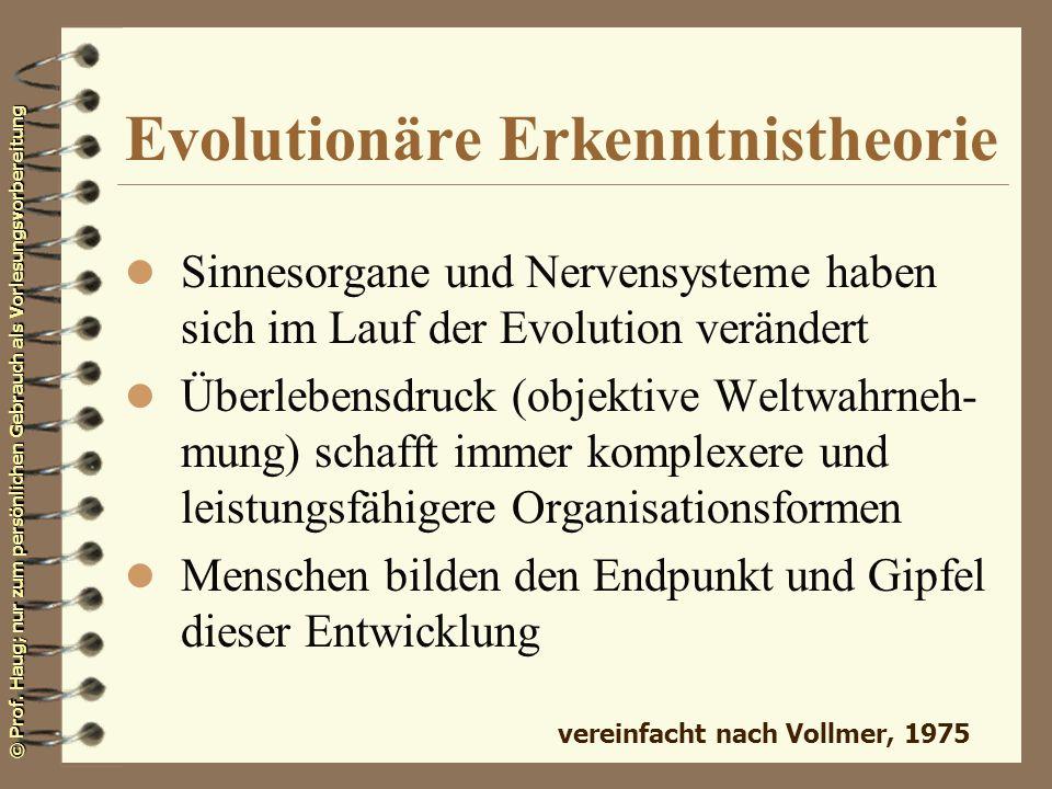 © Prof. Haug; nur zum persönlichen Gebrauch als Vorlesungsvorbereitung Evolutionäre Erkenntnistheorie l Sinnesorgane und Nervensysteme haben sich im L