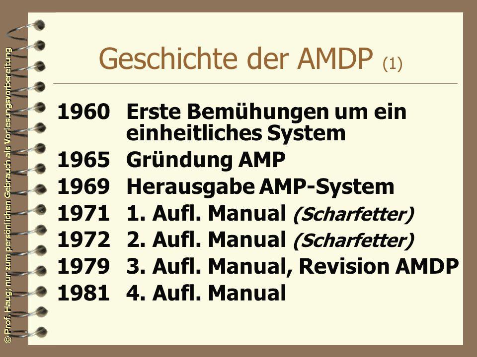 © Prof. Haug; nur zum persönlichen Gebrauch als Vorlesungsvorbereitung Geschichte der AMDP (1) 1960Erste Bemühungen um ein einheitliches System 1965Gr