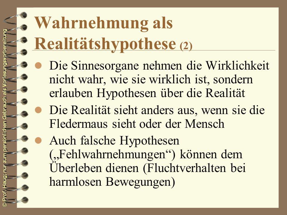 © Prof. Haug; nur zum persönlichen Gebrauch als Vorlesungsvorbereitung Wahrnehmung als Realitätshypothese (2) l Die Sinnesorgane nehmen die Wirklichke