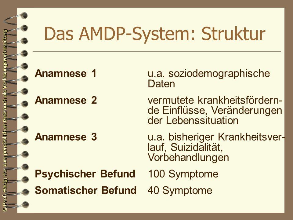 © Prof. Haug; nur zum persönlichen Gebrauch als Vorlesungsvorbereitung Das AMDP-System: Struktur Anamnese 1u.a. soziodemographische Daten Anamnese 2ve
