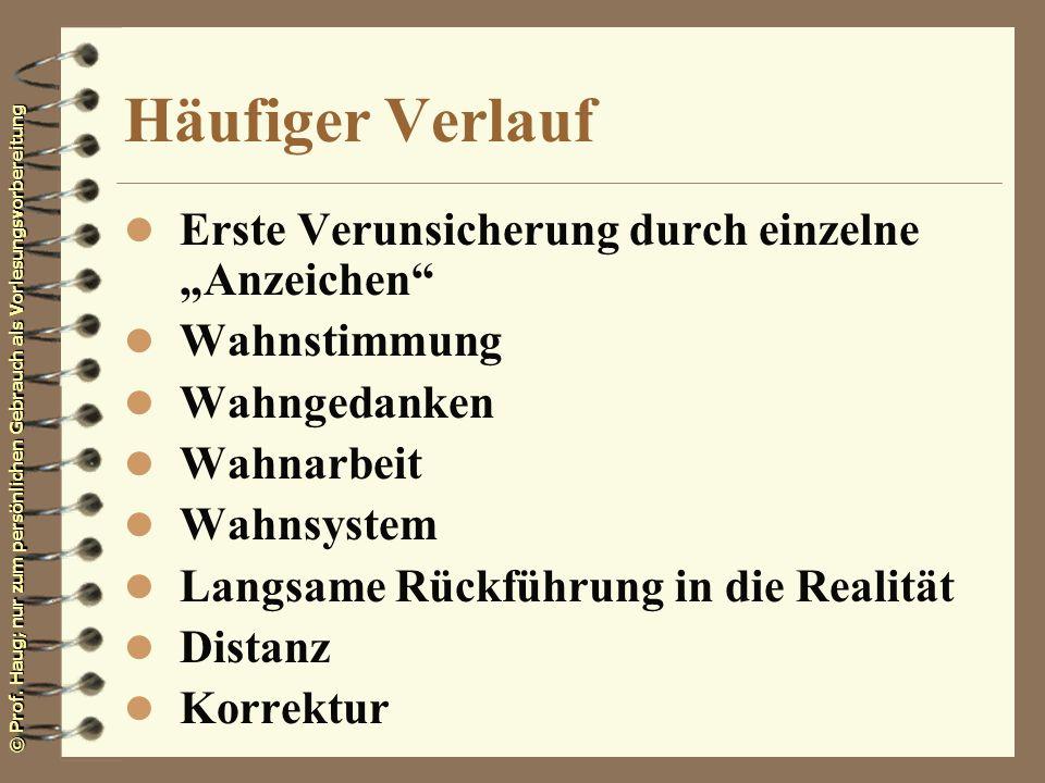 © Prof. Haug; nur zum persönlichen Gebrauch als Vorlesungsvorbereitung Häufiger Verlauf l Erste Verunsicherung durch einzelne Anzeichen l Wahnstimmung