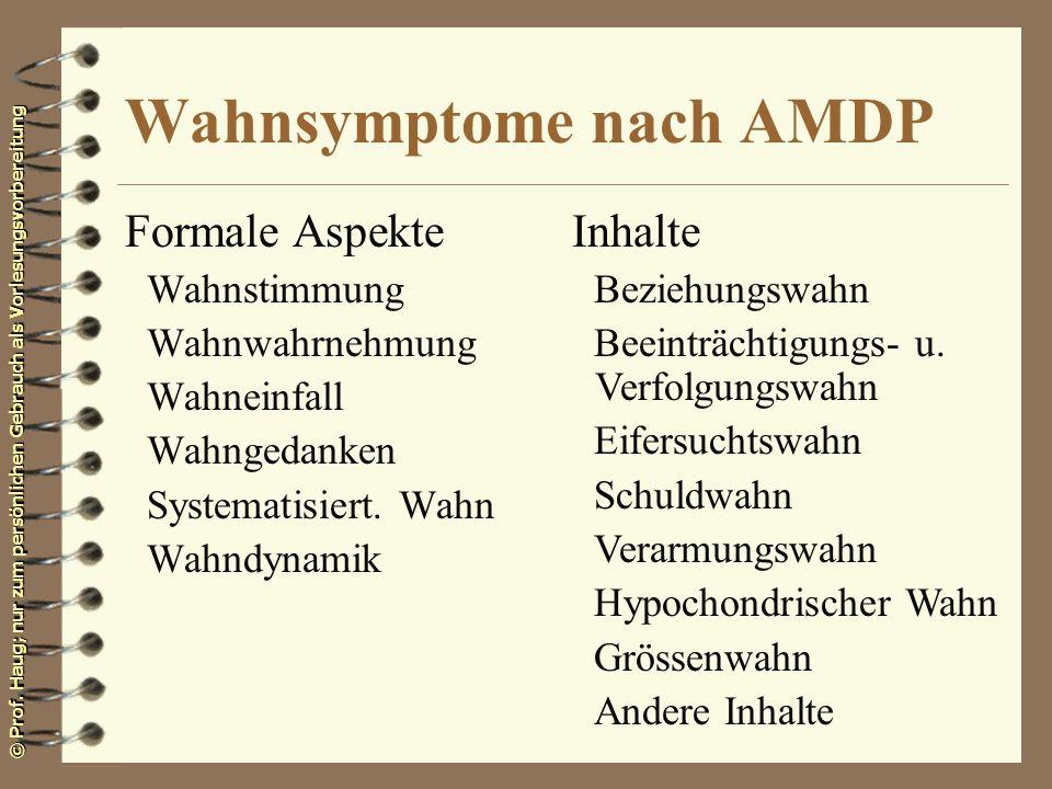 © Prof. Haug; nur zum persönlichen Gebrauch als Vorlesungsvorbereitung Wahnsymptome nach AMDP Formale Aspekte Wahnstimmung Wahnwahrnehmung Wahneinfall