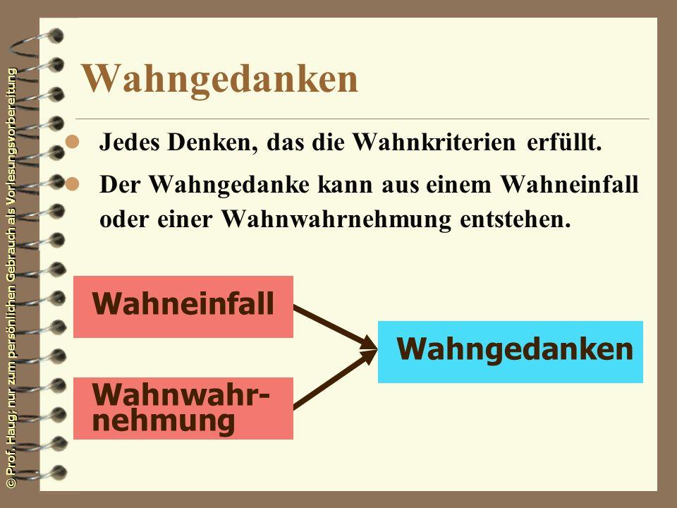 © Prof. Haug; nur zum persönlichen Gebrauch als Vorlesungsvorbereitung Wahngedanken l Jedes Denken, das die Wahnkriterien erfüllt. l Der Wahngedanke k