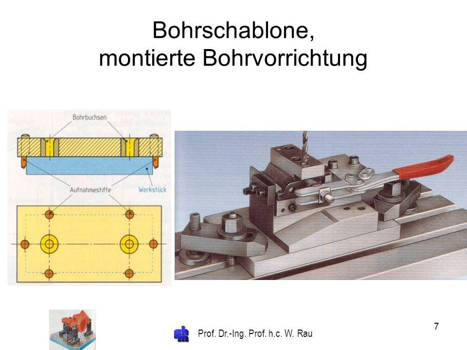 Prof. Dr.-Ing. Prof. h.c. W. Rau 7 Bohrschablone, montierte Bohrvorrichtung