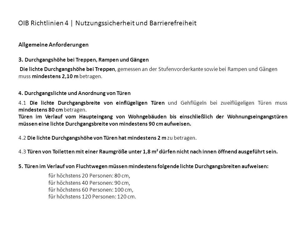OIB Richtlinien 4 | Nutzungssicherheit und Barrierefreiheit Allgemeine Anforderungen 3. Durchgangshöhe bei Treppen, Rampen und Gängen Die lichte Durch