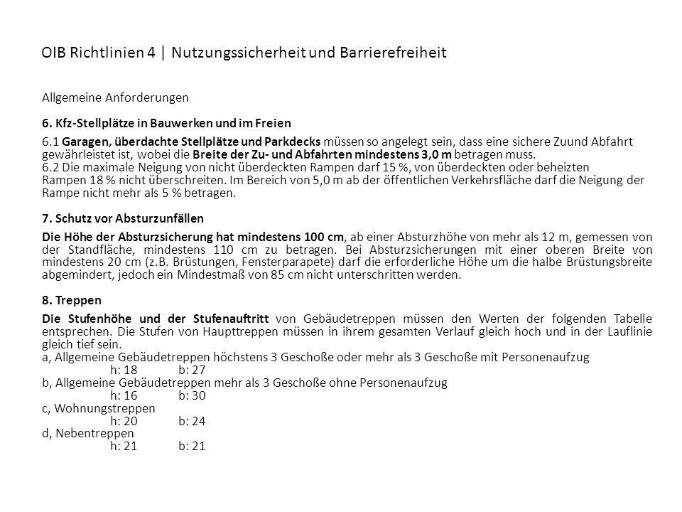 OIB Richtlinien 4 | Nutzungssicherheit und Barrierefreiheit Allgemeine Anforderungen 6. Kfz-Stellplätze in Bauwerken und im Freien 6.1 Garagen, überda