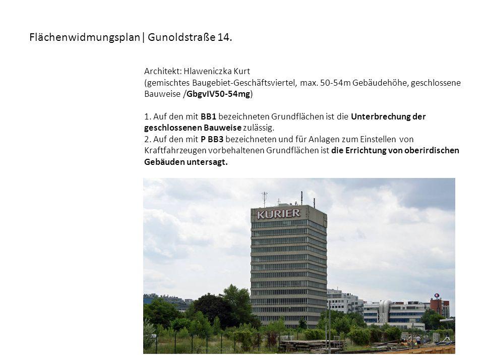 Flächenwidmungsplan| Gunoldstraße 14. Architekt: Hlaweniczka Kurt (gemischtes Baugebiet-Geschäftsviertel, max. 50-54m Gebäudehöhe, geschlossene Bauwei
