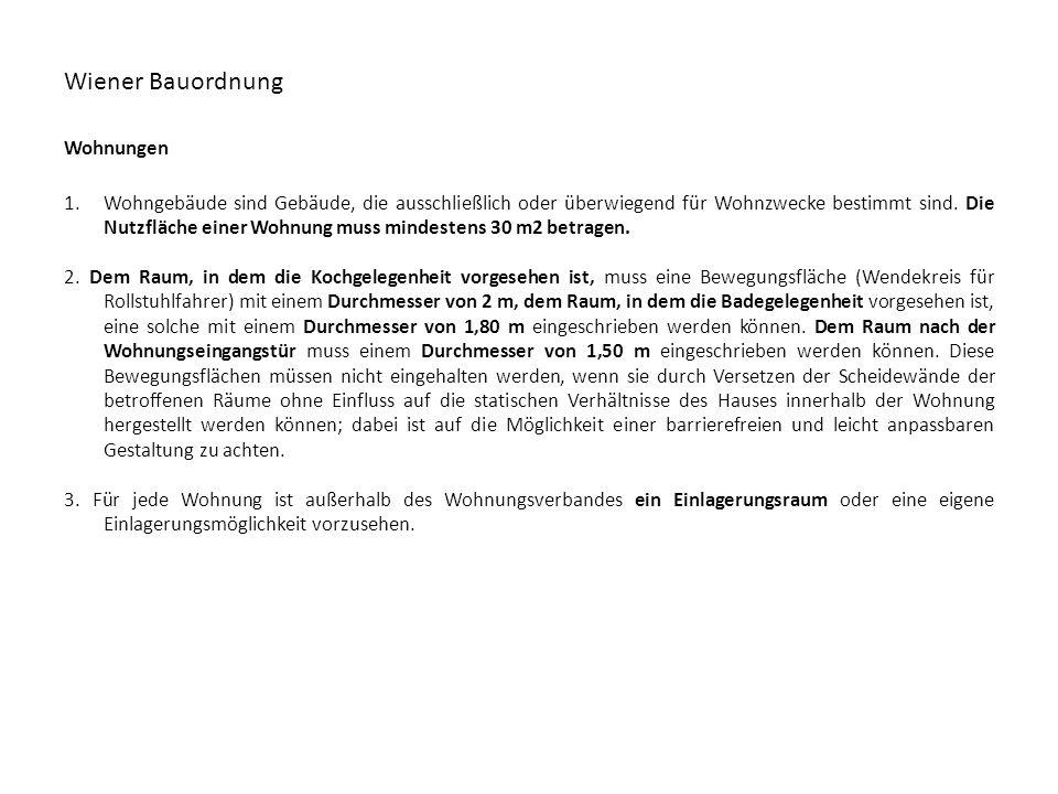 Wiener Bauordnung Wohnungen 1.Wohngebäude sind Gebäude, die ausschließlich oder überwiegend für Wohnzwecke bestimmt sind. Die Nutzfläche einer Wohnung