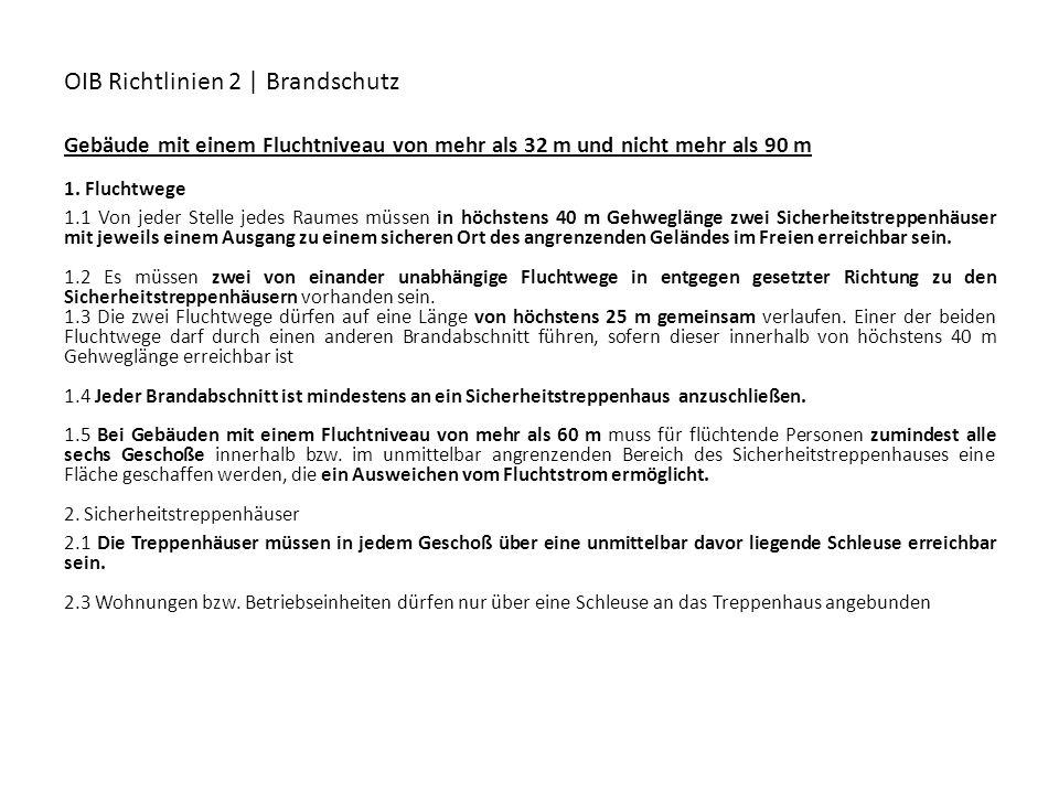 OIB Richtlinien 2 | Brandschutz Gebäude mit einem Fluchtniveau von mehr als 32 m und nicht mehr als 90 m 1. Fluchtwege 1.1 Von jeder Stelle jedes Raum