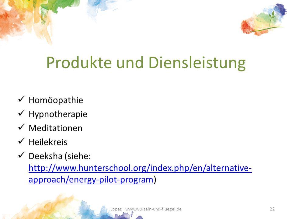 Produkte und Diensleistung Homöopathie Hypnotherapie Meditationen Heilekreis Deeksha (siehe: http://www.hunterschool.org/index.php/en/alternative- approach/energy-pilot-program) http://www.hunterschool.org/index.php/en/alternative- approach/energy-pilot-program Lopez · www.wurzeln-und-fluegel.de22