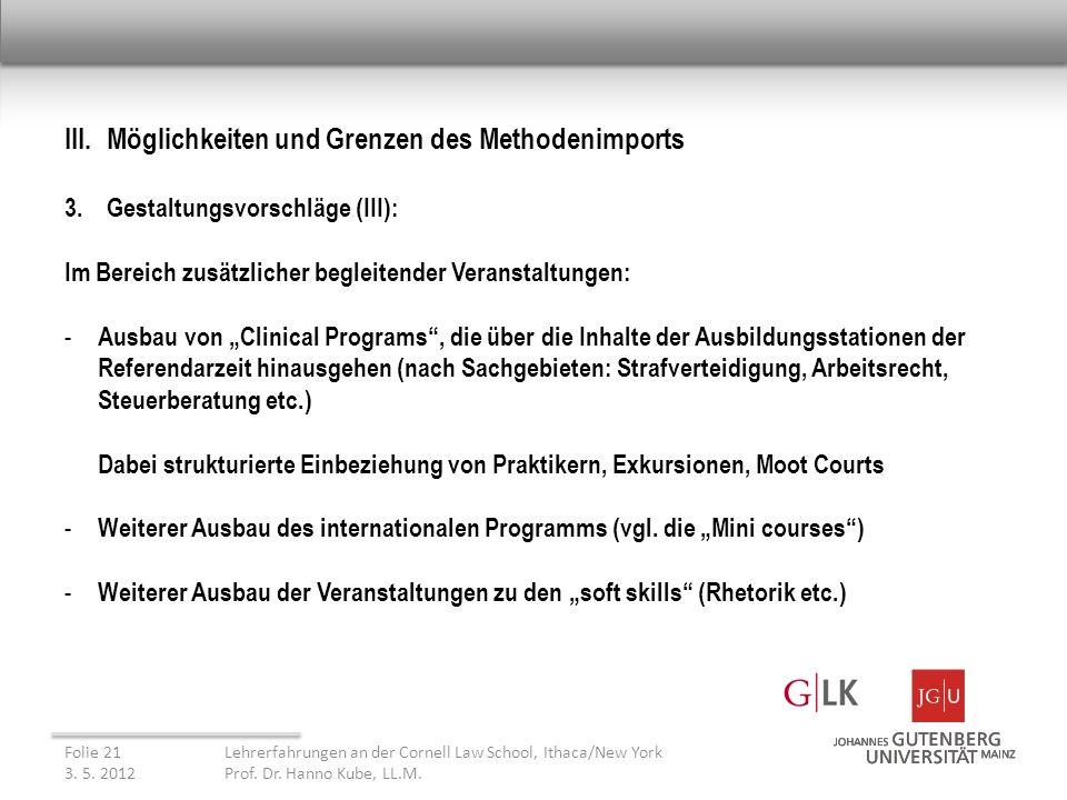 III. Möglichkeiten und Grenzen des Methodenimports 3.