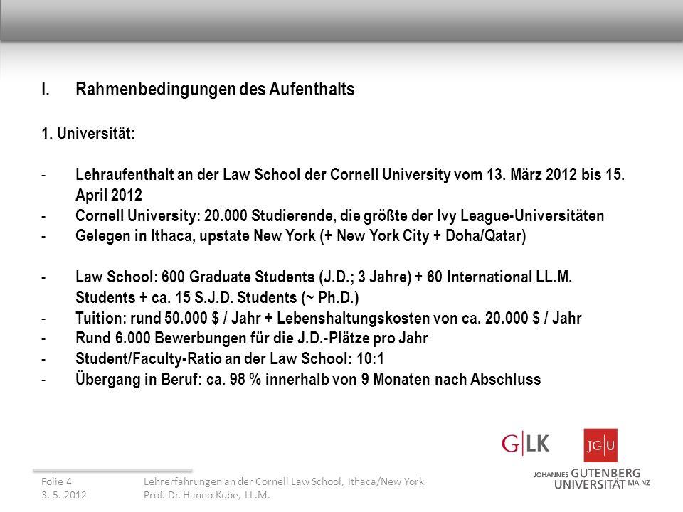 II.Beobachtungen Folie 15Lehrerfahrungen an der Cornell Law School, Ithaca/New York 3.