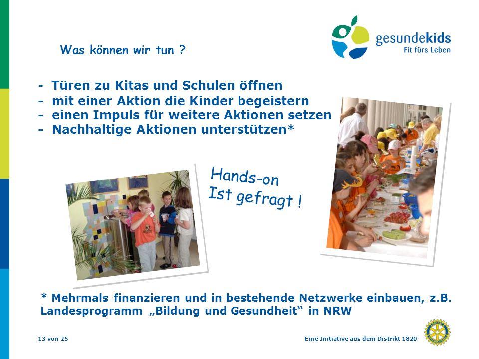 13 von 25Eine Initiative aus dem Distrikt 1820 - Türen zu Kitas und Schulen öffnen - mit einer Aktion die Kinder begeistern - einen Impuls für weitere Aktionen setzen - Nachhaltige Aktionen unterstützen* * Mehrmals finanzieren und in bestehende Netzwerke einbauen, z.B.