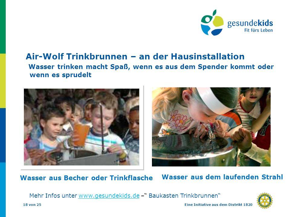 18 von 25Eine Initiative aus dem Distrikt 1820 Air-Wolf Trinkbrunnen – an der Hausinstallation Wasser trinken macht Spaß, wenn es aus dem Spender komm