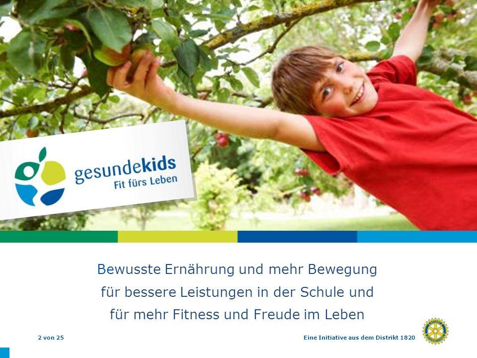 2 von 25Eine Initiative aus dem Distrikt 1820 Bewusste Ernährung und mehr Bewegung für bessere Leistungen in der Schule und für mehr Fitness und Freud