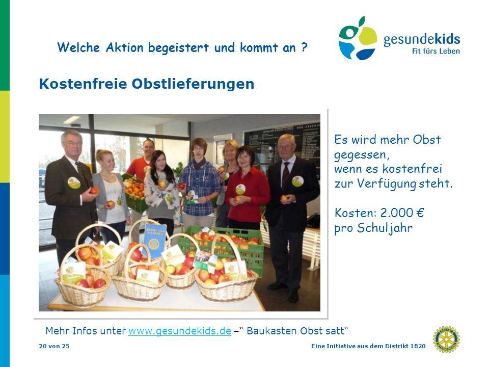 20 von 25Eine Initiative aus dem Distrikt 1820 Kostenfreie Obstlieferungen Es wird mehr Obst gegessen, wenn es kostenfrei zur Verfügung steht. Kosten: