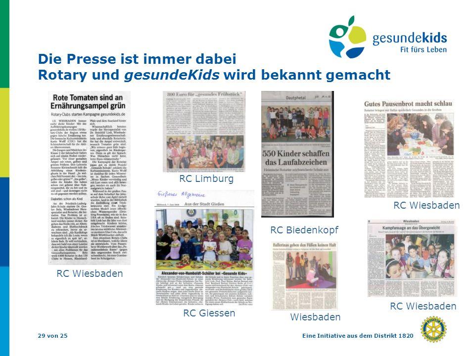 29 von 25Eine Initiative aus dem Distrikt 1820 Die Presse ist immer dabei Rotary und gesundeKids wird bekannt gemacht RC Wiesbaden RC Limburg RC Giessen RC Wiesbaden RC Biedenkopf Wiesbaden