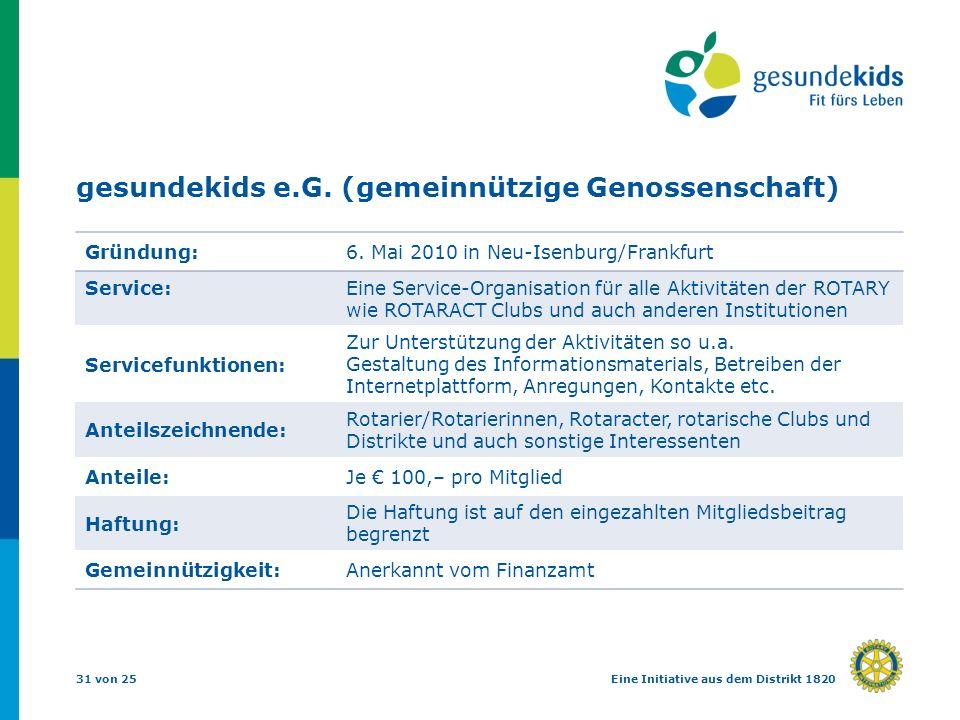 31 von 25Eine Initiative aus dem Distrikt 1820 gesundekids e.G. (gemeinnützige Genossenschaft) Gründung:6. Mai 2010 in Neu-Isenburg/Frankfurt Service: