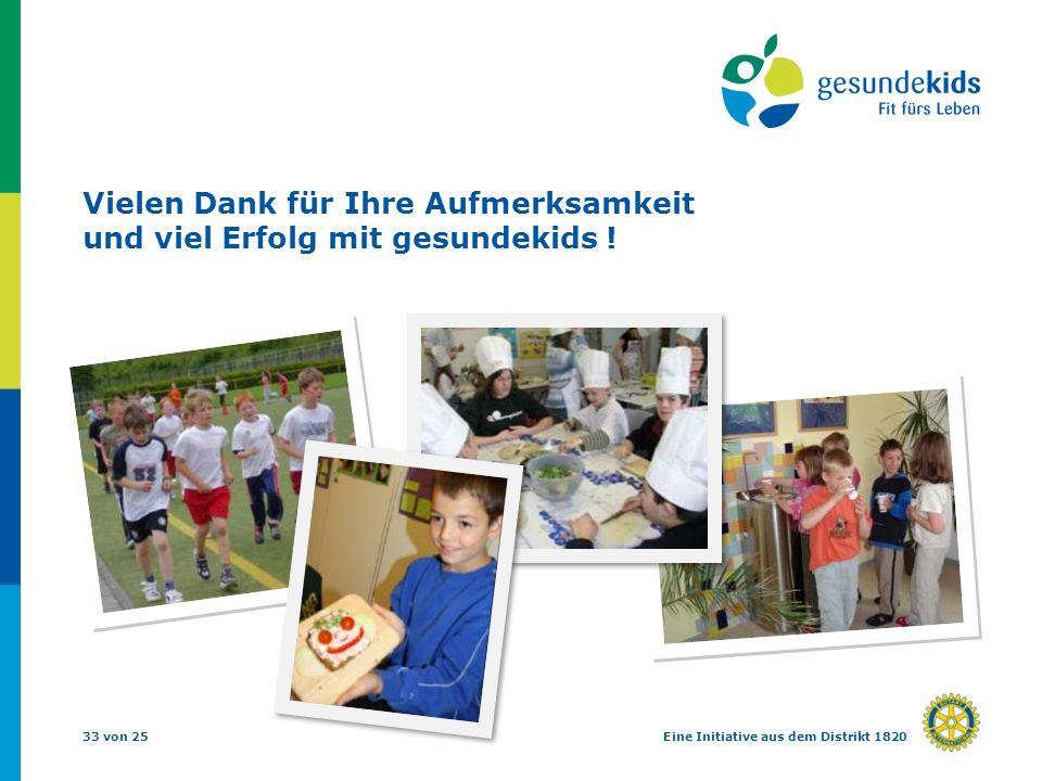 33 von 25Eine Initiative aus dem Distrikt 1820 Vielen Dank für Ihre Aufmerksamkeit und viel Erfolg mit gesundekids !