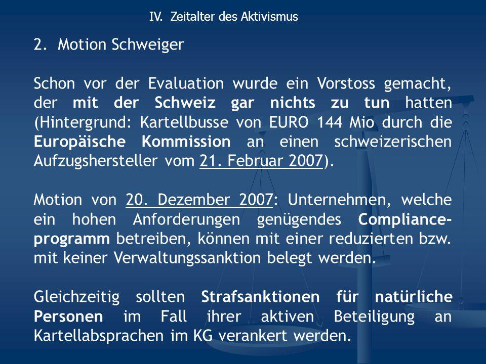 2.Motion Schweiger Schon vor der Evaluation wurde ein Vorstoss gemacht, der mit der Schweiz gar nichts zu tun hatten (Hintergrund: Kartellbusse von EU