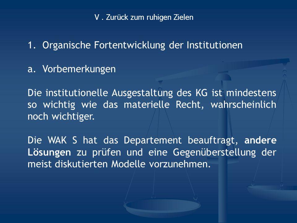 1.Organische Fortentwicklung der Institutionen a.Vorbemerkungen Die institutionelle Ausgestaltung des KG ist mindestens so wichtig wie das materielle Recht, wahrscheinlich noch wichtiger.