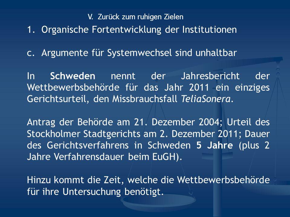 1.Organische Fortentwicklung der Institutionen c.Argumente für Systemwechsel sind unhaltbar In Schweden nennt der Jahresbericht der Wettbewerbsbehörde für das Jahr 2011 ein einziges Gerichtsurteil, den Missbrauchsfall TeliaSonera.