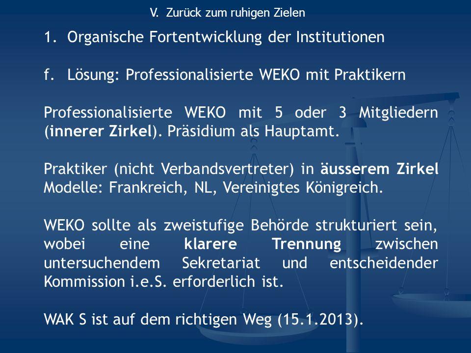 1.Organische Fortentwicklung der Institutionen f.Lösung: Professionalisierte WEKO mit Praktikern Professionalisierte WEKO mit 5 oder 3 Mitgliedern (innerer Zirkel).